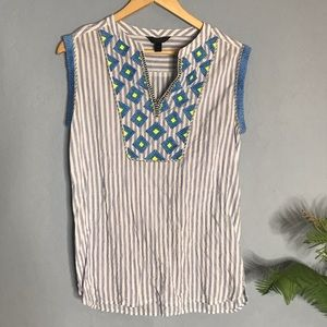 J. Crew Striped Embroidered Top Blue Boho Blouse 0